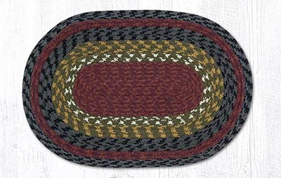 Burgundy, Olive, & Charcoal Cotton Tweed Placemat