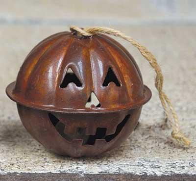 Rusty Jack o Lantern Jingle Bell Ornament