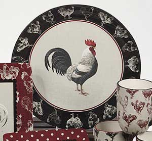 Country Rooster Round Charger