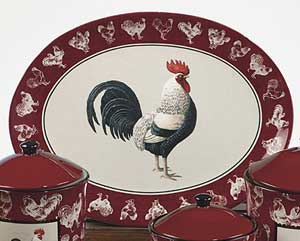 Country Rooster Oval Platter