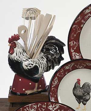 Country Rooster Utensil Jar with Tools