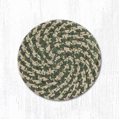 Green & Burgundy Cotton Braided Coaster