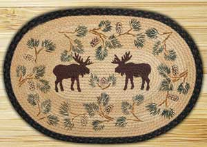 Moose & Pinecone Braided Jute Rug