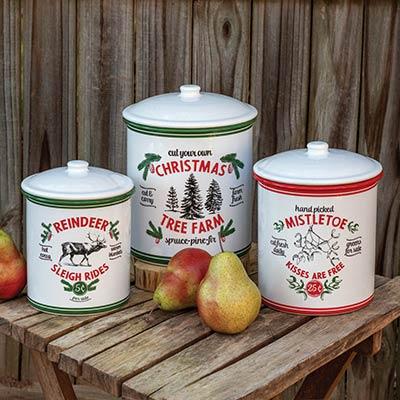 Christmas Tree Farm Storage Canisters (Set of 3)