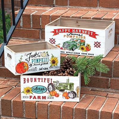 Fall Farmer's Market Wooden Crates (Set of 3)