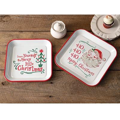 Vintage Santa Enamel Trays (Set of 2)