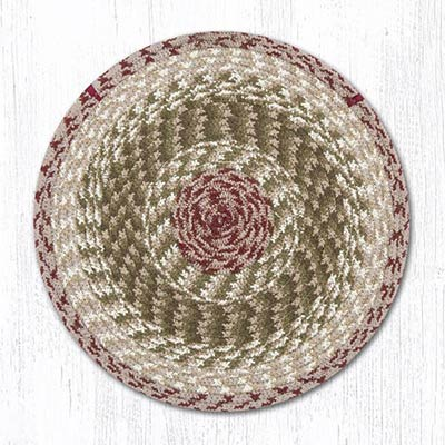 Olive, Burgundy, and Gray Cotton Braid Chair Pad