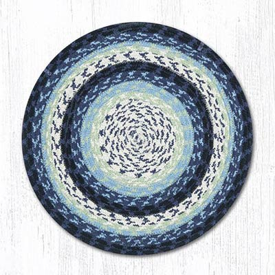 Blueberry and Creme Cotton Braid Chair Pad