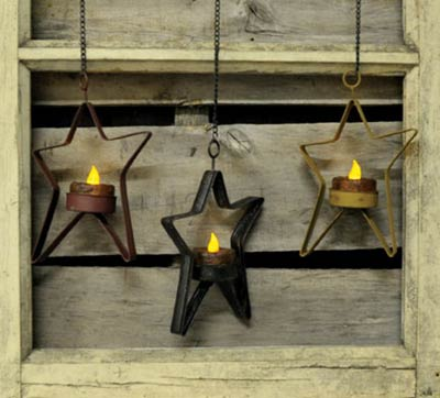 Hanging Star Tealight Holder - Black