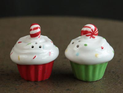 Holiday Soiree Cupcake Salt & Pepper Shaker Set - Red/Green