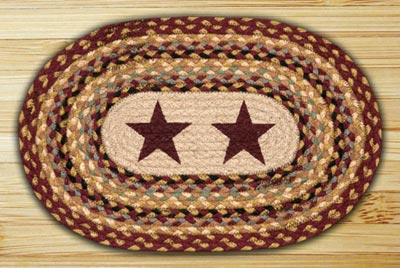 Burgundy Star Braided Jute Placemat
