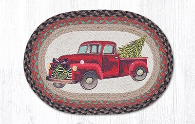 Christmas Truck Braided Placemat - Oval