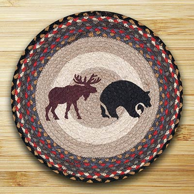 Black Bear & Moose Braided Jute Chair Pad