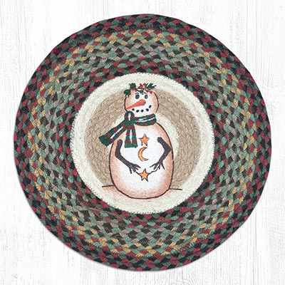 Moon & Star Snowman Round Braided Chair Pad