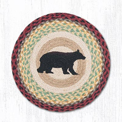 Cabin Bear Round Braided Chair Pad
