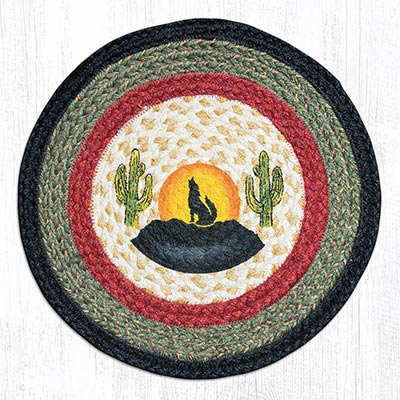 Coyote Silhouette Round Braided Chair Pad