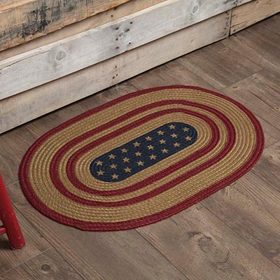 Liberty Stars Flag Oval Braided Rug (20 x 30 inch)