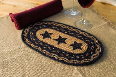 Farmhouse Jute Placemat with Stars - 11 inch