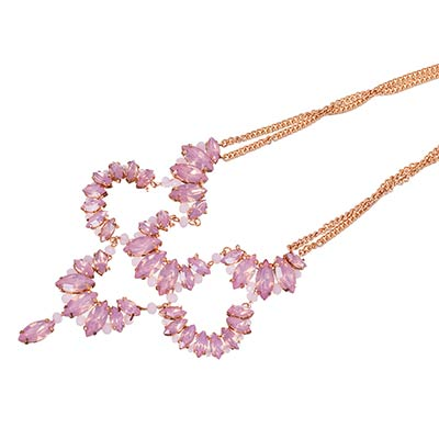 Pink and Gold Gem Necklace