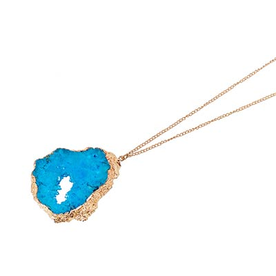 Large Turquoise Druzy Pendant Necklace