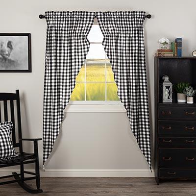 Annie Buffalo Black Check Long Prairie Curtain