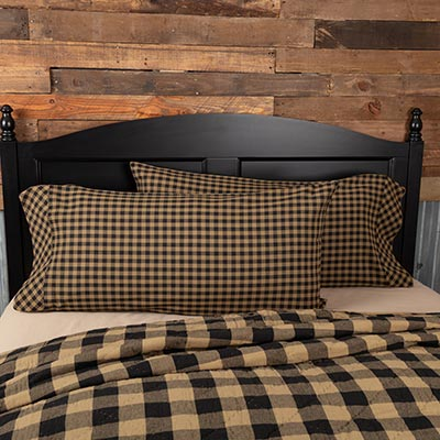 Black Check Pillow Cases - King Size (Set of 2)