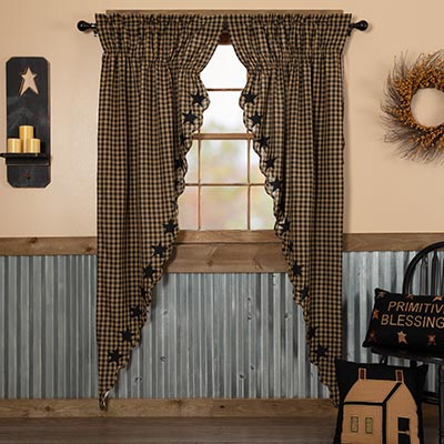 Black Star Scalloped Prairie Curtain Panels - 84 inch