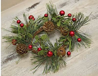 Pine Candle Ring with Red Berries