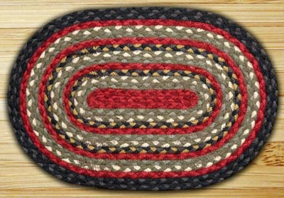 Burgundy, Olive, & Charcoal Jute Placemat