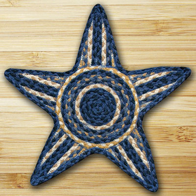 Light Blue, Dark Blue, & Mustard Star Trivet