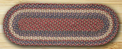 Burgundy and gray braided jute 36 inch tablerunner by for Table runners 52 inches