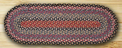 Burgundy, Blue, and Gray Jute Table Runner- 36 inch