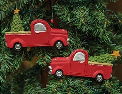 Red Vintage Pick Up Ornaments (Set of 2)
