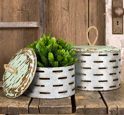 Olive Buckets with Wood Lids (Set of 2)