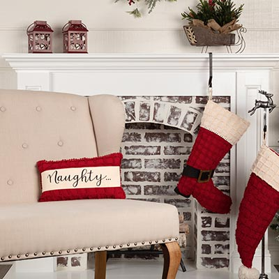 Chenille Christmas Naughty and Nice Pillow 7x13