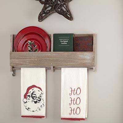 Chenille Christmas Ho Ho Ho Bleached White Muslin Tea Towel Set of 2 19x28