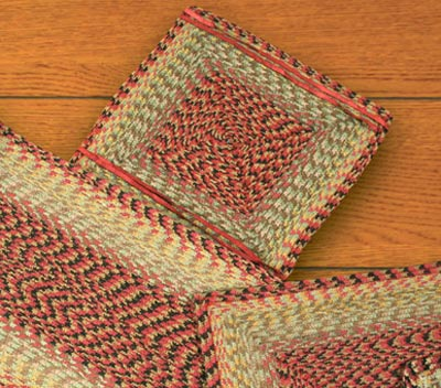 Burgundy, Black, and Sage Cotton Tweed Chair Pad (Square)