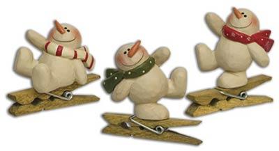 Dancing Snowman Clip Ornaments (Set of 3)