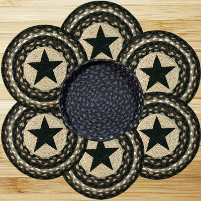 Black Star Braided Jute Trivet Set