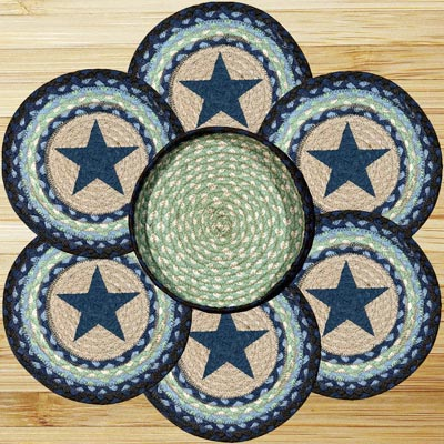 Blue Star Braided Jute Trivet Set