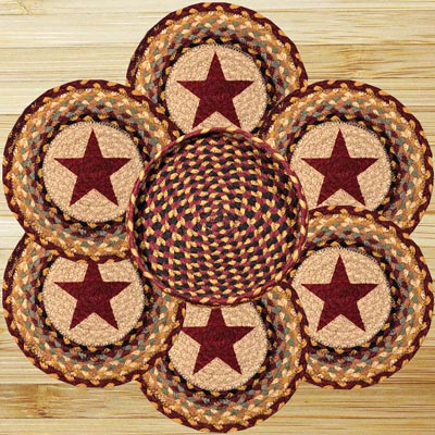 Burgundy Star Braided Jute Trivet Set