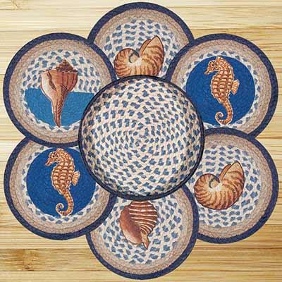 Deep Blue Sea Shell Braided Jute Trivet Set