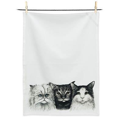 Three Cats Tea Towel