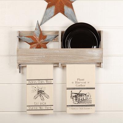 Sawyer Mill Charcoal Plow & Corn Muslin Unbleached Natural Tea Towel Set of 2 19x28