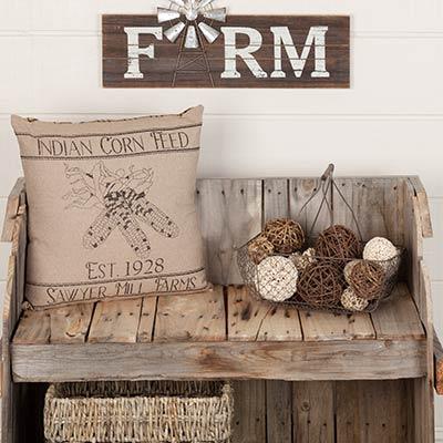 Sawyer Mill Charcoal Corn Feed Pillow