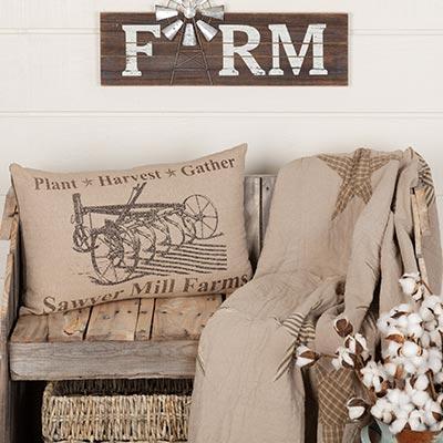 Sawyer Mill Charcoal Plow Pillow 14x22