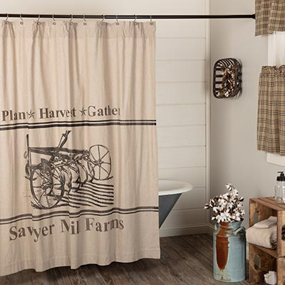 Sawyer Mill Charcoal Plow Shower Curtain 72x72