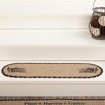 Sawyer Mill Charcoal Plow Jute Stair Tread Oval Latex 8.5x27