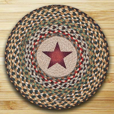Gold Stars Round Braided Placemat