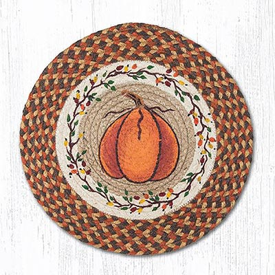 Harvest Pumpkin Braided Placemat - Round